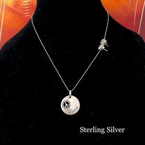 STERLING SILVER 925 NECKLACE EARRINGS PEACE SIGN
